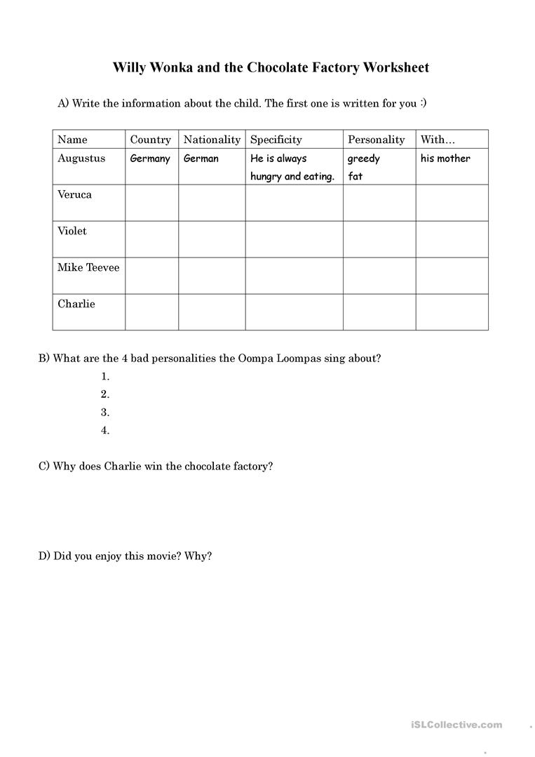 Willy Wonka And The Chocolate Factory Worksheet - Free Esl Printable | Charlie And The Chocolate Factory Worksheets Printable