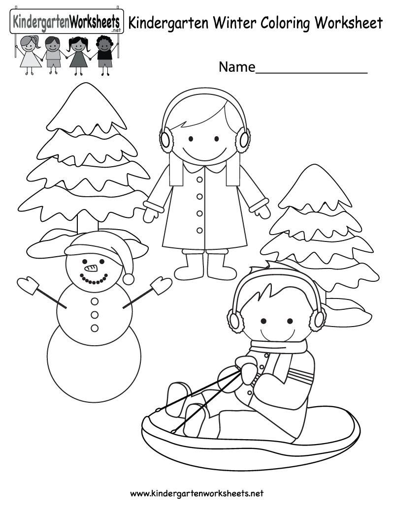 Winter Coloring Worksheet - Free Kindergarten Seasonal Worksheet For | Free Printable Winter Preschool Worksheets