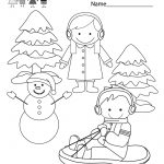Winter Coloring Worksheet – Free Kindergarten Seasonal Worksheet For | Winter Holidays Worksheets Printables