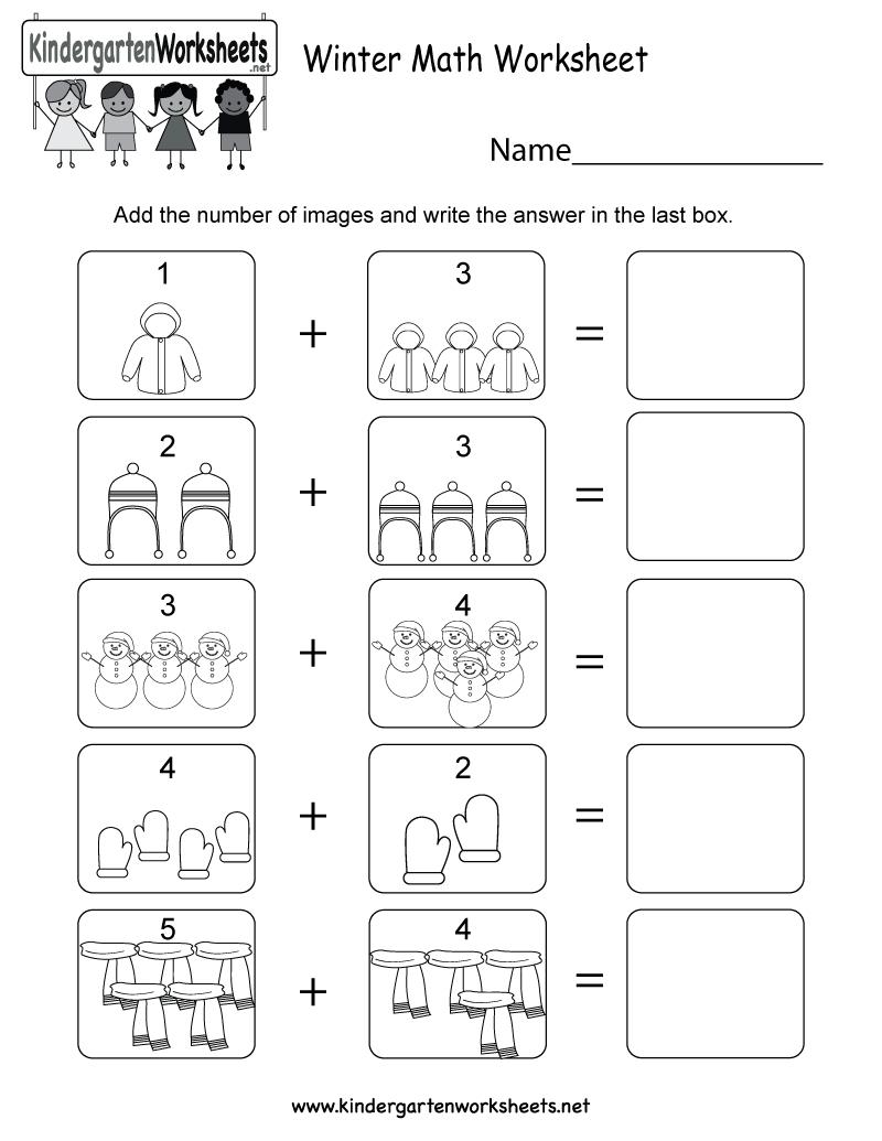 Winter Math Worksheet - Free Kindergarten Seasonal Worksheet For Kids | Free Printable Winter Preschool Worksheets