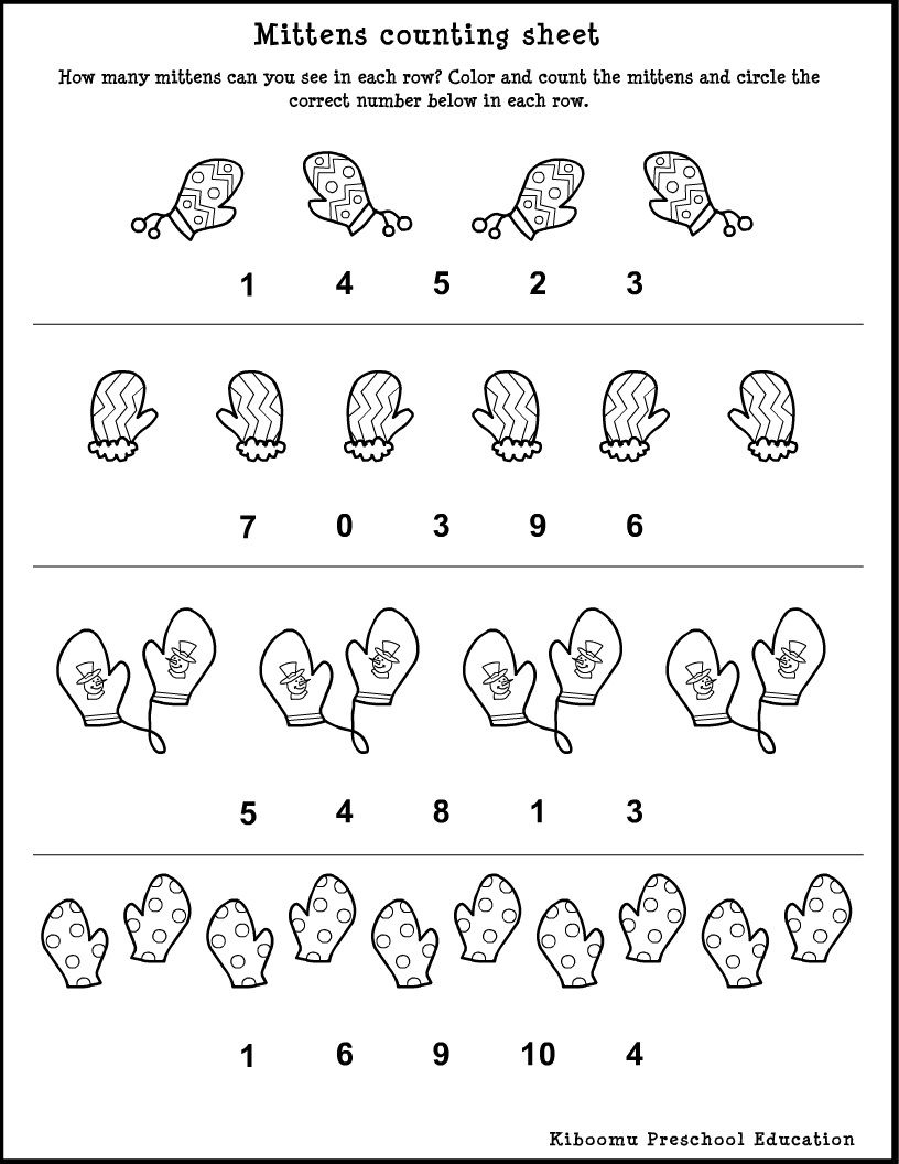 Winter Song And <B>Preschool</b> <B>Math</b> <B>Worksheet</b | Free Printable Winter Preschool Worksheets
