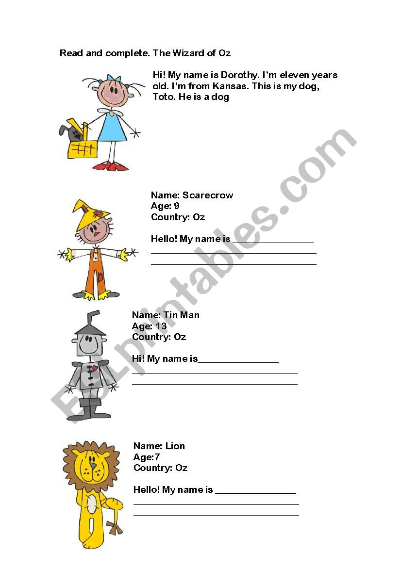 Wizard Of Oz - Esl Worksheetmarialauchi | The Wizard Of Oz Printable Worksheets