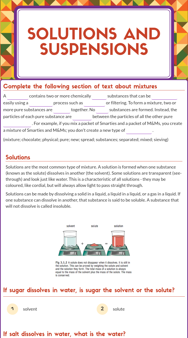 """Wizer Blended Worksheet """"solutions And Suspensions"""".   Science   Free Printable Worksheets On Mixtures And Solutions"""