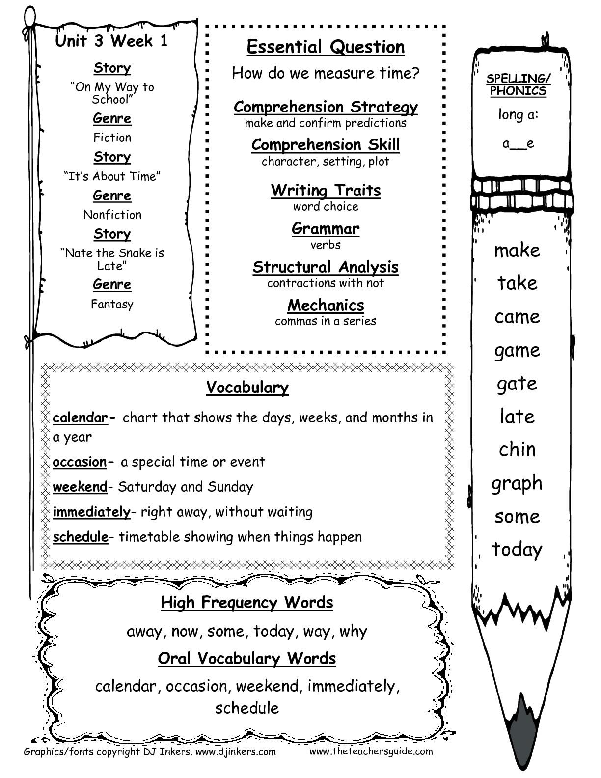 Wonders First Grade Unit Three Week One Printouts - Free Printable   Free Printable First Grade Worksheets