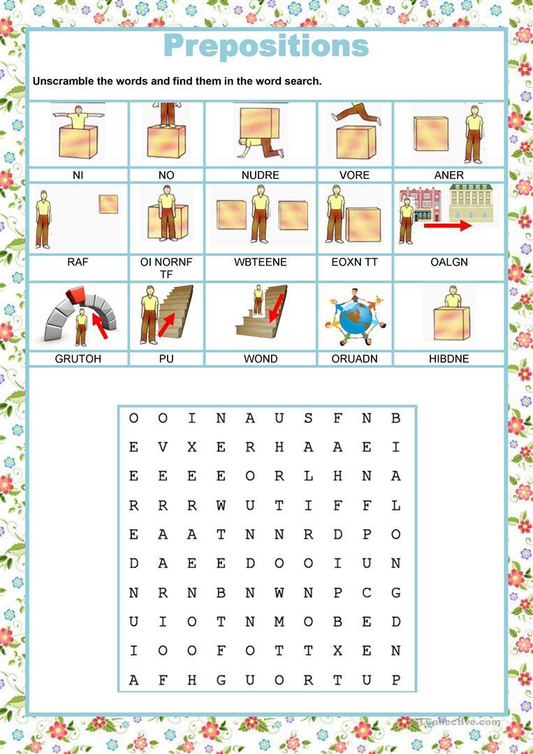 Wordsearch - Prepositions Worksheet - Free Esl Printable Worksheets | Printable Preposition Worksheets