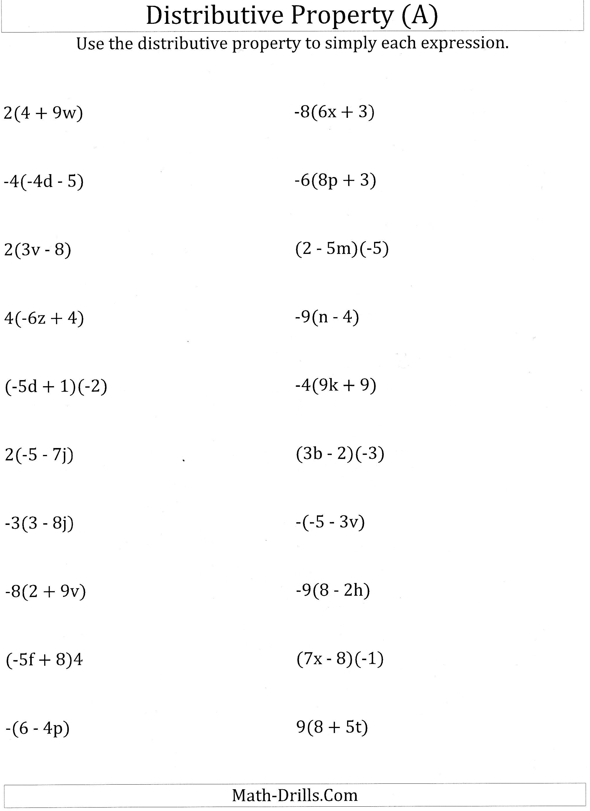 Worksheet #12241584: Math Worksheets Distributive Property – Using | Free Printable Distributive Property Worksheets