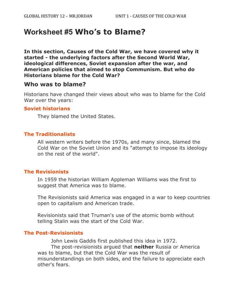 Worksheet #5 Who`s To Blame? | Cold War Printable Worksheets