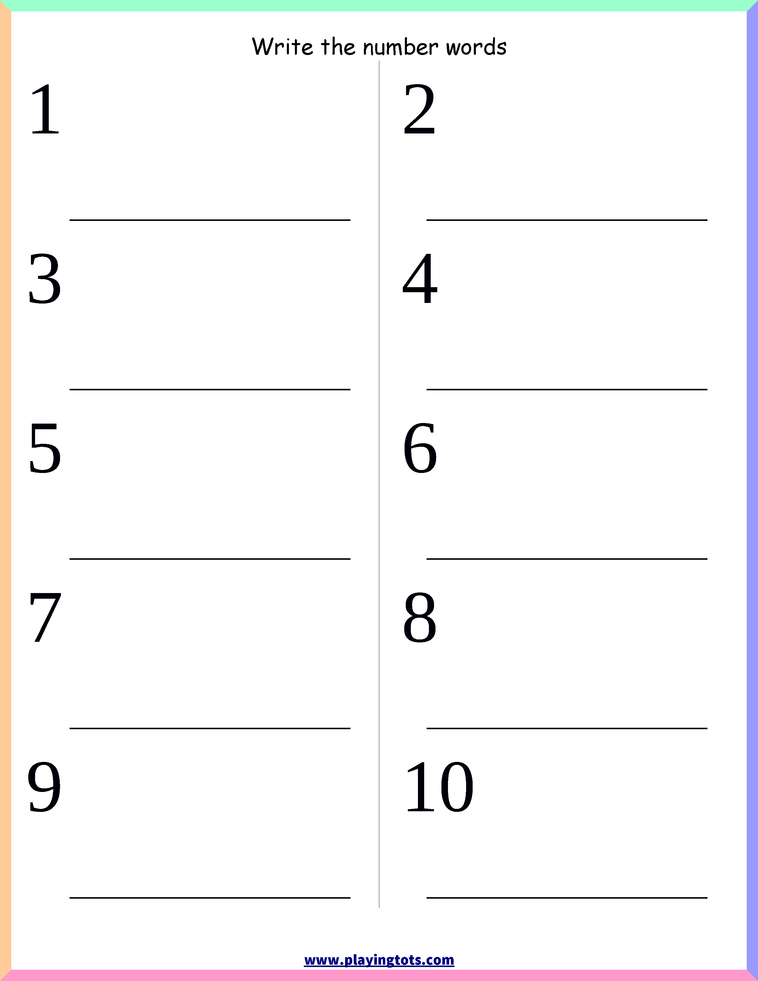 Worksheet - Number Words Keywords:free, Printable,pdf | Jan 2017 | Free Printable Worksheets For Kindergarten Pdf