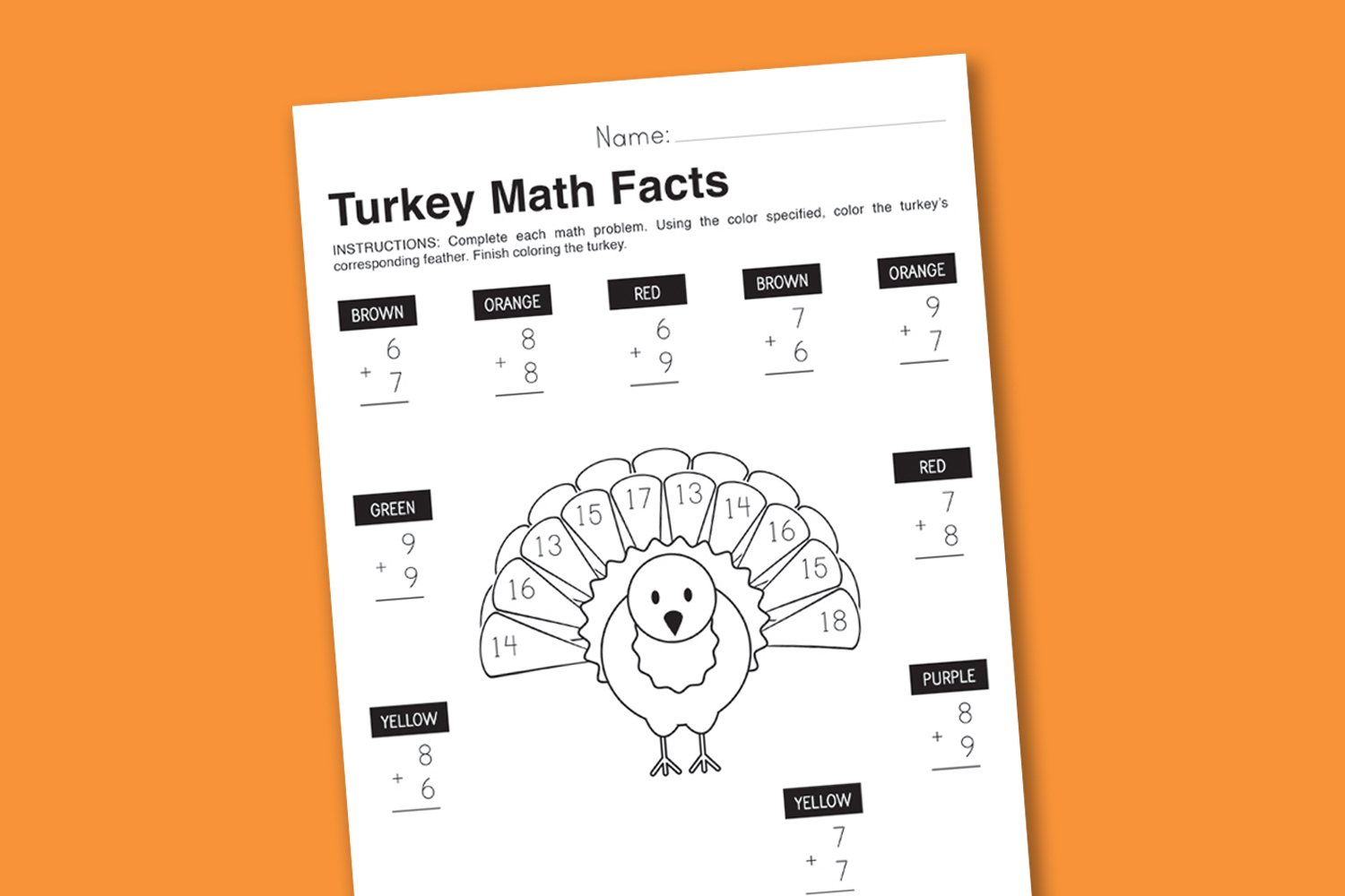 Worksheet Wednesday: Turkey Math Facts - Paging Supermom | Math Worksheets Thanksgiving Free Printable