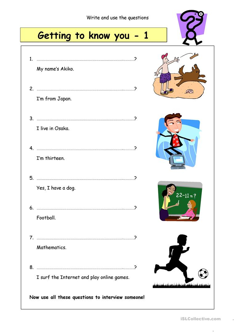 Write The Questions: Getting To Know You (1) Worksheet - Free Esl | Printable Getting To Know You Worksheets