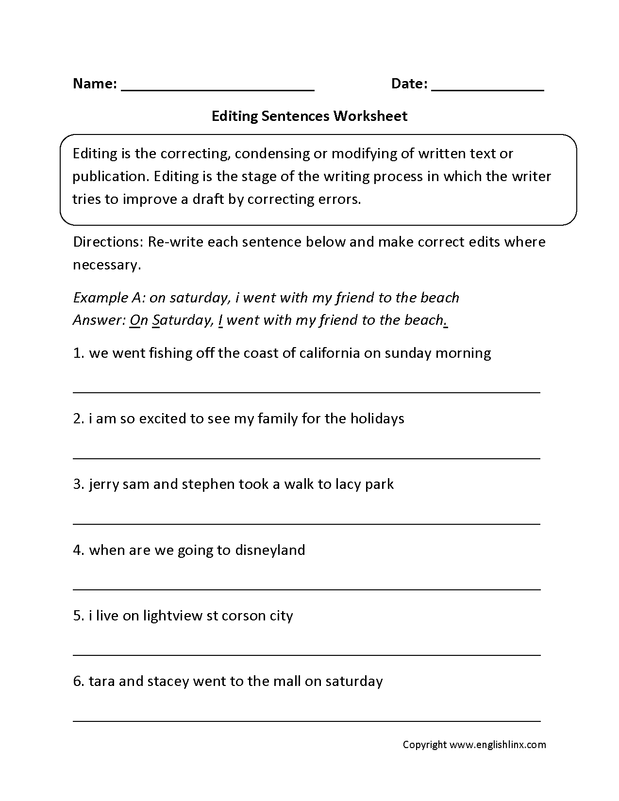 Writing Worksheets | Editing Worksheets | Printable Editing Worksheets