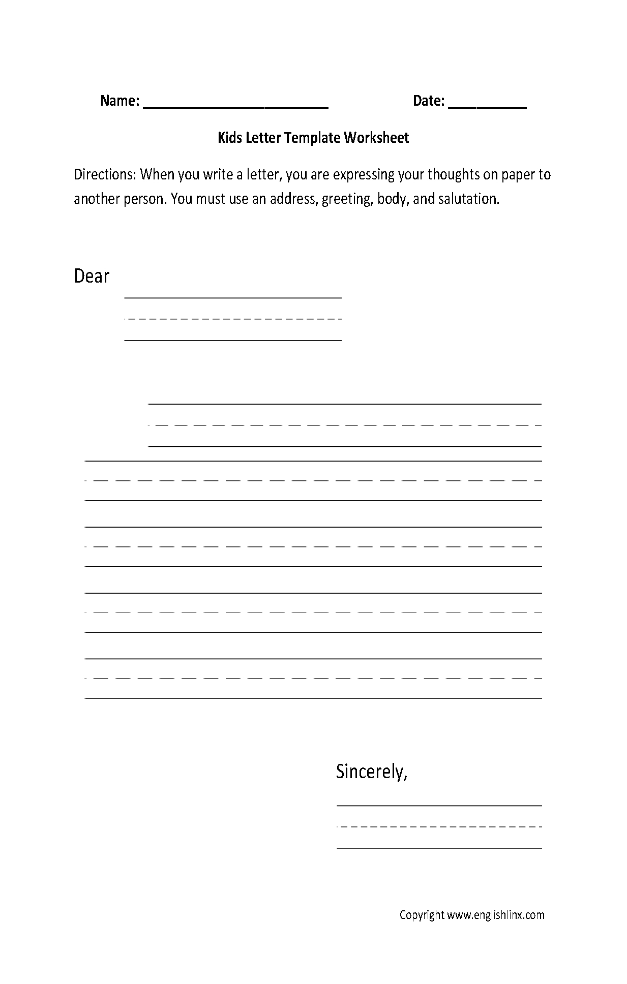 Writing Worksheets | Letter Writing Worksheets | Free Printable Letter Writing Worksheets