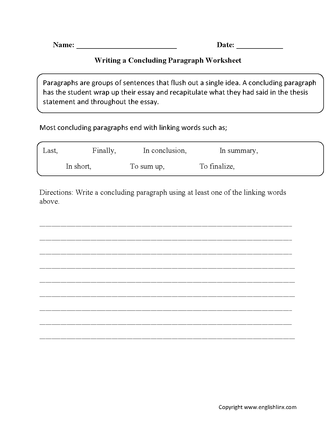 Writing Worksheets | Paragraph Writing Worksheets | Free Printable Paragraph Writing Worksheets